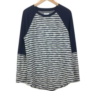 Lou & Grey Navy Knit Striped Sweater